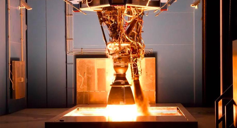 A SpaceX Merlin rocket engine being tested.