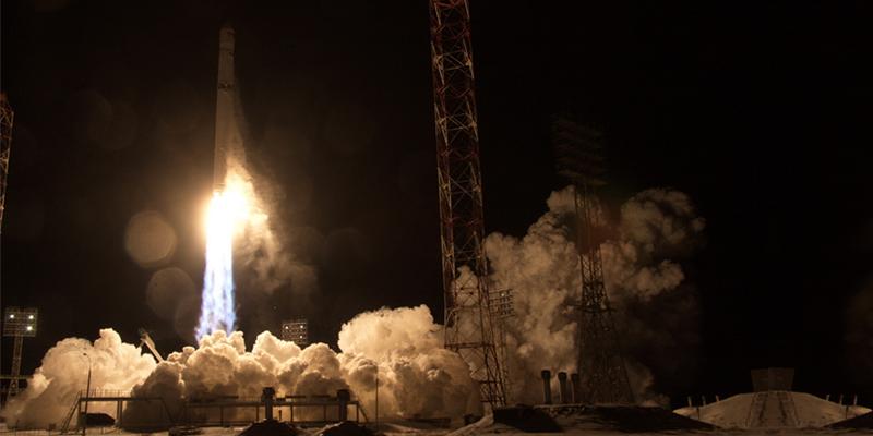 Angosat-1 launches aboard a Zenit-2SB from Baikonur Cosmodrome.
