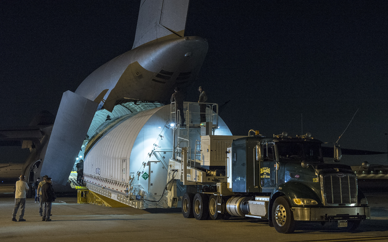 The OTIS section of the James Webb Space Telescope has arrived at the Northrop Grumman Aerospace Systems facility safely.