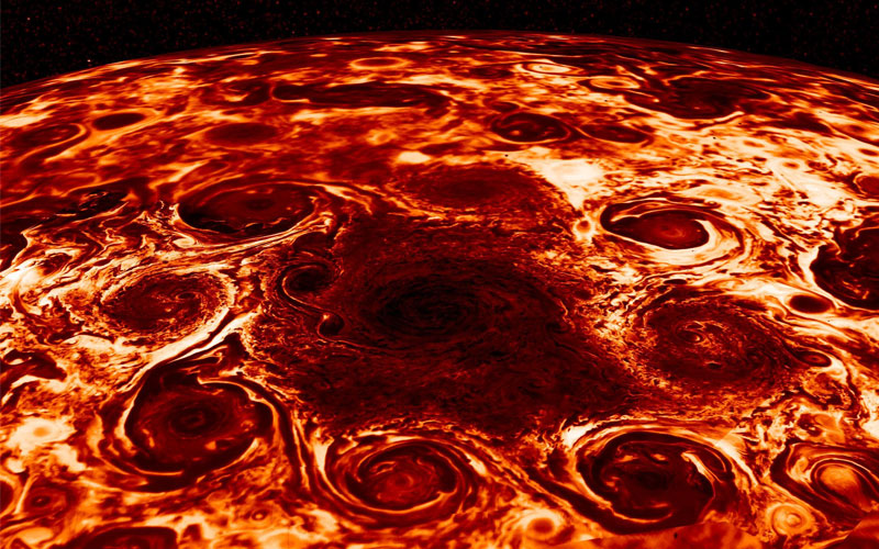 Amazing images of cyclonic superstorm have been captured by NASA's Juno spacecraft.