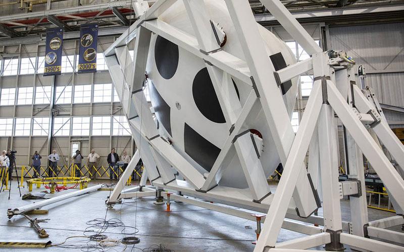 NASA's Orion crew module undergoes mass property testing.