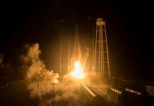 The Orbital ATK Cygnus OA-9 launches aboard their Antares 230 rocket.