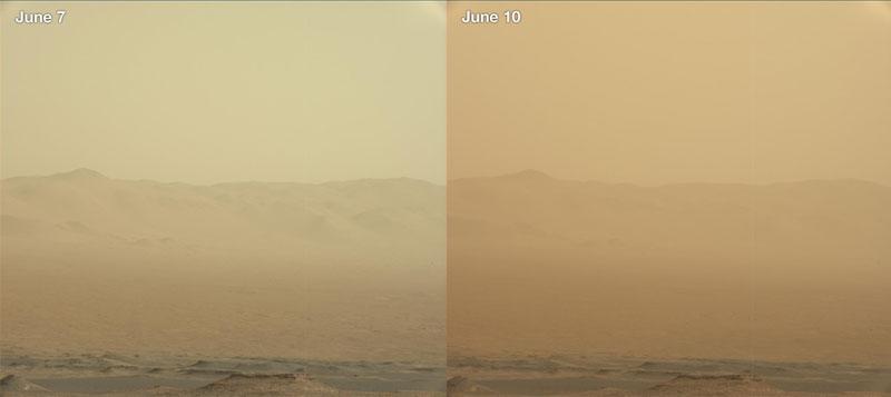 Mars Curiosity rover tracks progressive of massive sand storm.