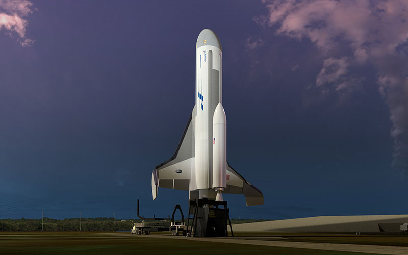 The Boeing Phantom Express spaceplane will launch with a smalsat launcher strapped to its back.