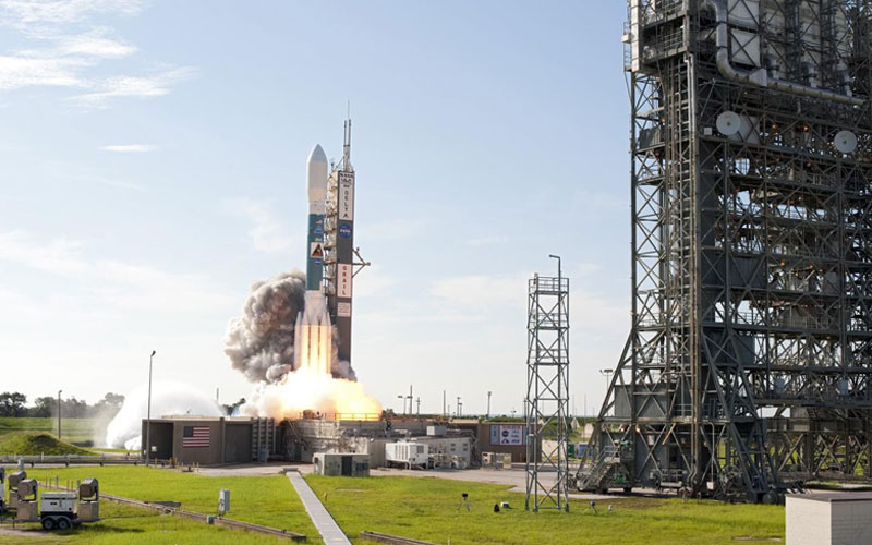A Delta II rocket launched from Cape Canaveral Launch Complex 17.