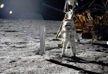 Buzz Aldrin and Neil Armstrong become the first people to set foot on the moon during the Apollo 11 moon mission.