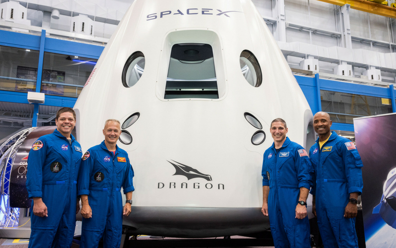 Bob Behnken, Doug Hurley, Mike Hopkins, and Victor Glover will crew the first two SpaceX Crew Dragon missions for NASA's Commercial Crew Program.