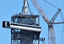 As SpaceX install crew access arm to Pad 39A at the Kennedy Space Center in preparation of their first commercial crew launch.