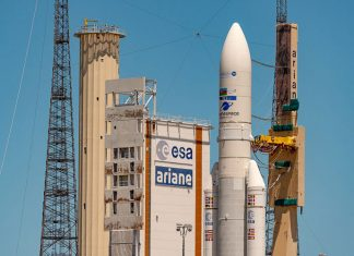 Arianespace deploys Azerspace-2/Intelsat-38 and Horizons 3e communication satellites with 100th launch of Ariane 5 launch vehicle.