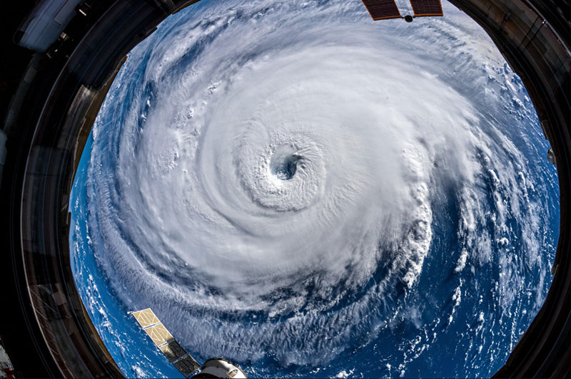 Chilling images of Hurricane Florence from ISS.