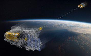 RemoveDEBRIS satellite captures cubesat in experimental net.