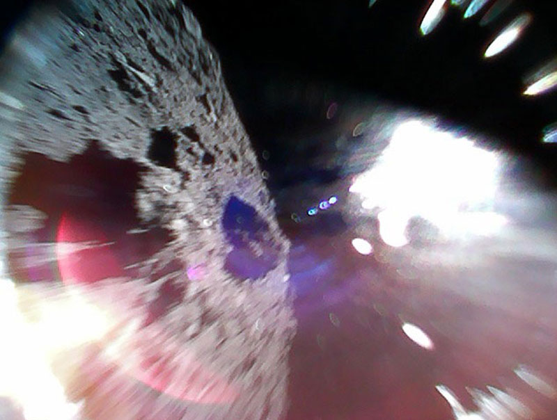 Rover-1A Hayabusa2 rovers captures an image of the Ryugu asteroid during a hop on September 22.