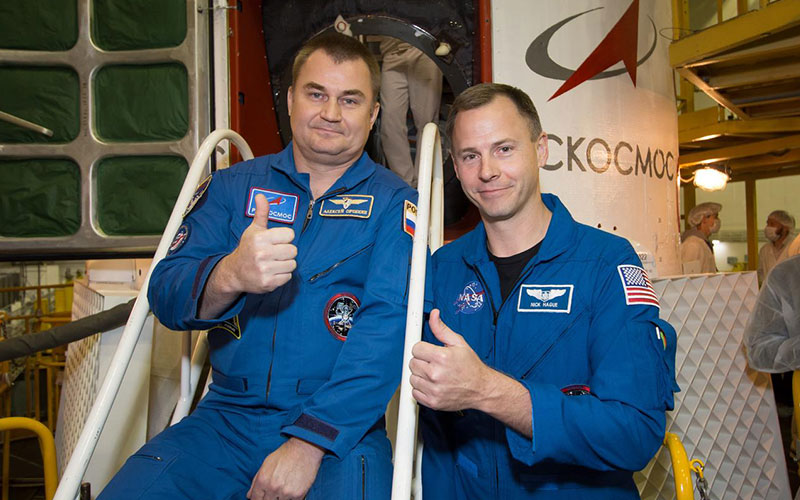 NASA astronaut Nick Hague and Roscosmos cosmonaut Alexey Ovchinin of the ISS Expedition 57 launch aboard Soyuz MS-10 spacecraft.