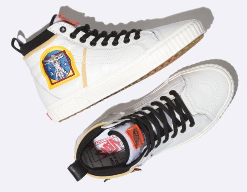 NASA-inspired Vans X Space Voyager SK8-Hi 46 MTE DX White sneaker.
