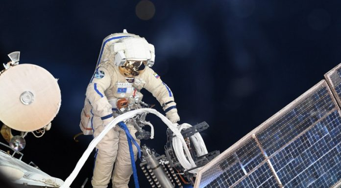 Russian cosmonauts Oleg Kononenko and Sergey Prokopyev complete almost 8-hour spacewalk to inspect the Soyuz MS-09 spacecraft.