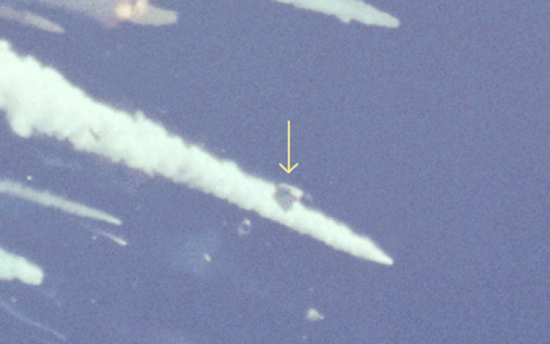 Following the initial explosion, the Challenger's crew cabin can be seen plummeting back to Earth intact.