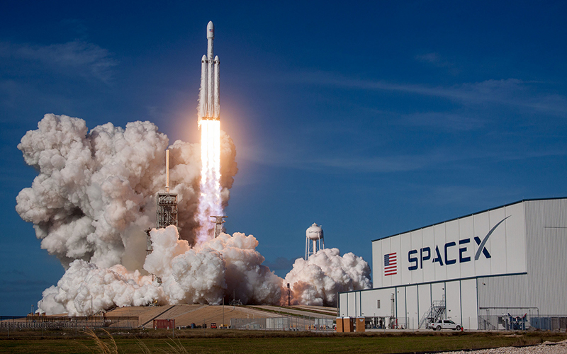 In 2018, SpaceX launched the maiden flight of their Falcon Heavy rocket.