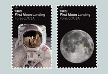 The US Postal Service has released a pair of commemorative Apollo 11 stamps.