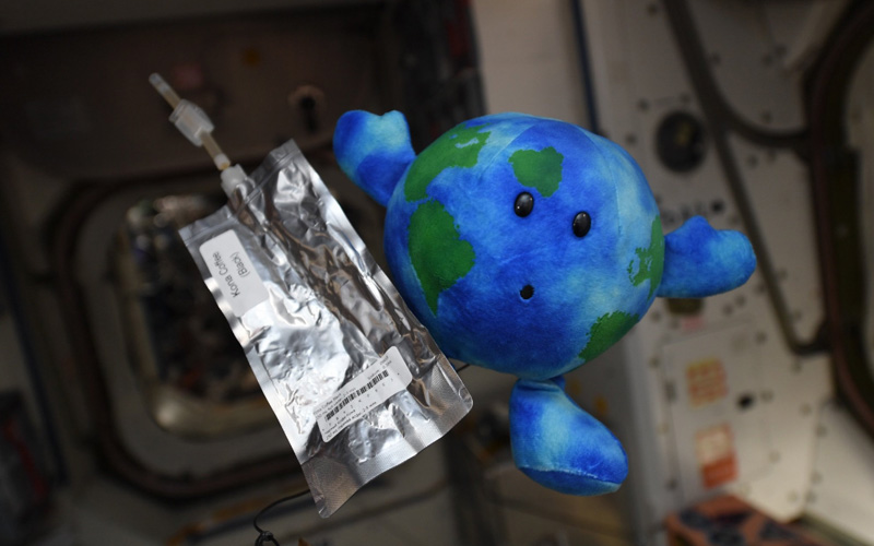 Earth Plush toy joins ISS crew during station activities.