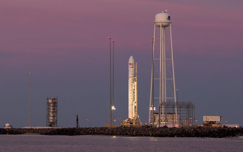 The Antares rocket set to launch a Cygnus cargo spacecraft has gone vertical at NASA's Wallops Flight Facility.