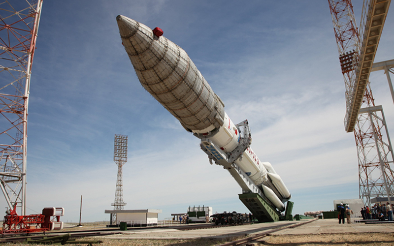 Russia has raised a Proton-M at Baikonur ahead of the launch of the Yamal 601 satellite.