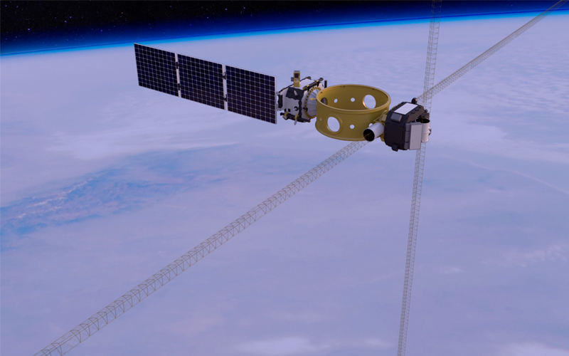 The experimental US Air Force Research Laboratory DSX satellite has deployed its enormous 80-metre antenna.