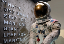 Neil Armstrong's Apollo 11 spacesuit is back on display at the Smithsonian.
