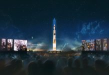Apollo 11 Saturn V projected onto Washington Monument to celebrate 50th anniversary.