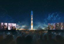 Apollo 11 Saturn V projected onto Washington Monument to celebrate 50th anniversary.