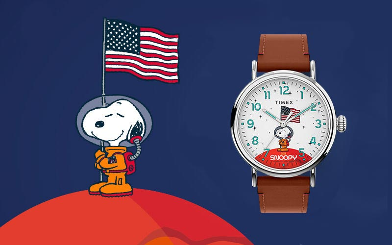 Timex create Snoopy In Space watches to commemorate Apollo 11 Moon landing.