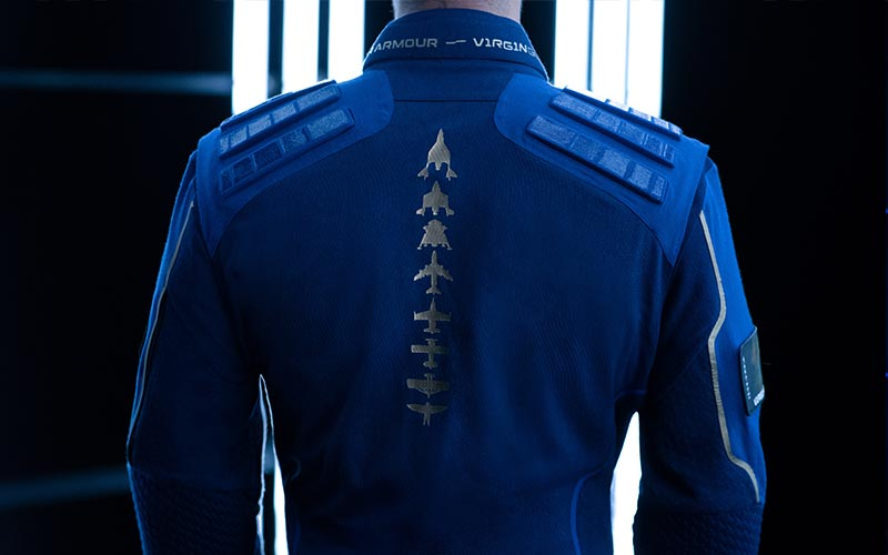 Virgin Galactic unveils the flight suit designed by Under Armour that SpaceShipTwo passengers will wear.