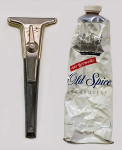 The razor and shaving cream used by Mike Collins during the Apollo 11 mission to the Moon.