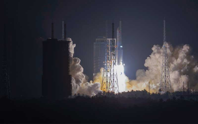 China has successfully launched a critical Long March 5 test flight.