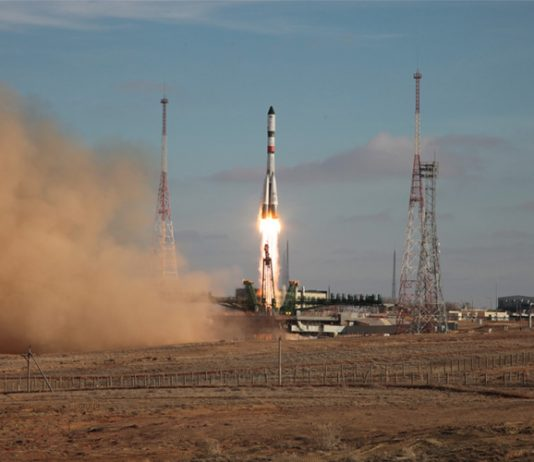 Progress MS-13 spacecraft is launched carrying food, fuel, and supplies.