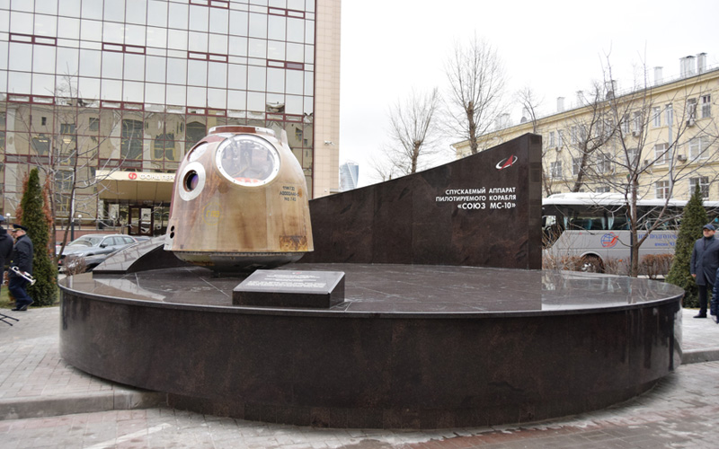 The Soyuz MS-10 capsule that survived an emergency abort has been put on display in Moscow.