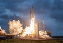 Arianespace deploys two geostationary communication satellites into orbit.