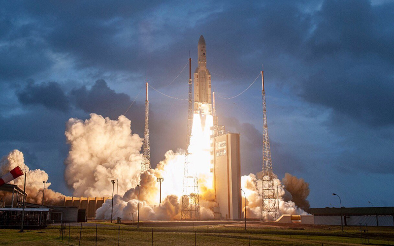 Arianespace deploys two geostationary communication satellites into orbit.