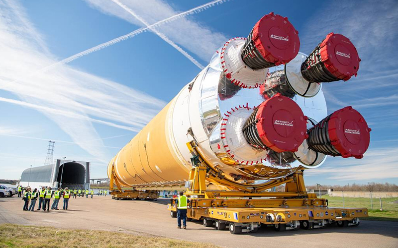 The first SLS core stage is on its way to the Stennis Space Center for the Green Run test campaign.