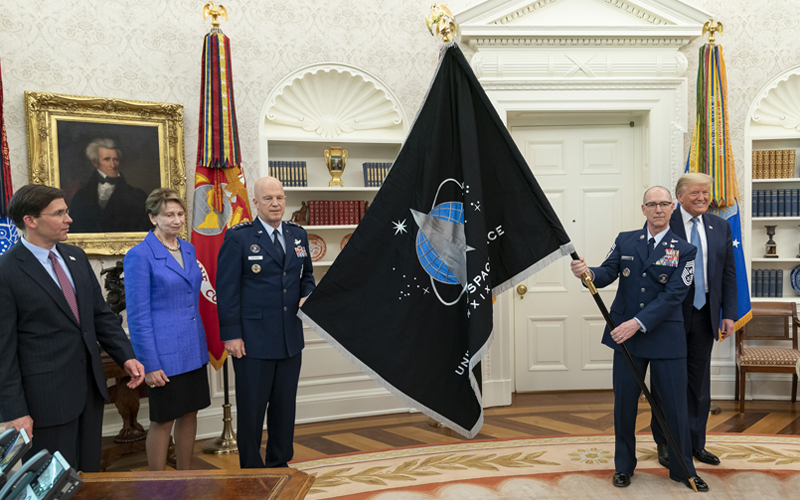The US Space Force flag was presented to President Trump on May 15, 2020.
