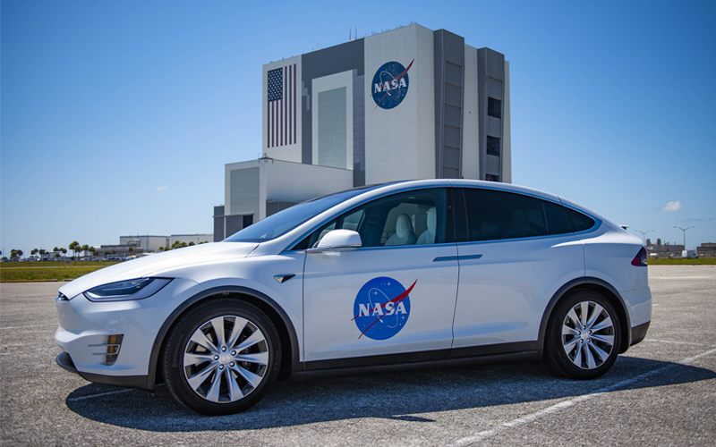NASA astronauts will be transported to the Kennedy Space Center's Pad 39A for the SpeceX Demo-2 mission in a white Tesla Model X.