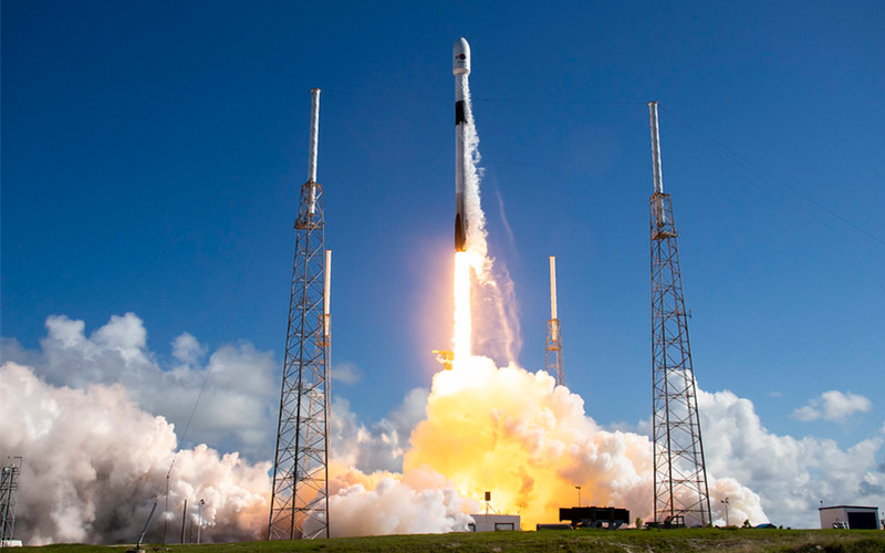 SpaceX launched 61 satellites aboard the first Falcon 9 to be launched and recovered six times.