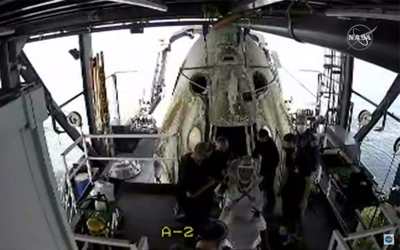 NASA SpaceX Crew Dragon Demo-2 crew returns to Earth.