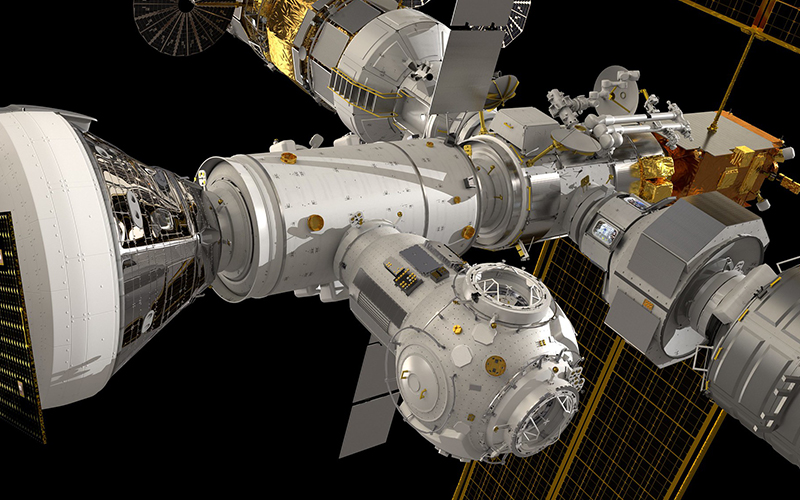 A detailed rendering of NASA's lunar Gateway space station.