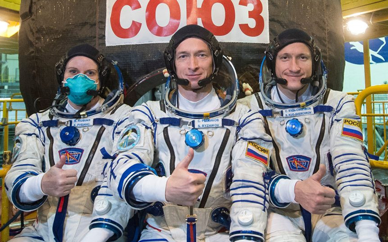 Soyuz MS-17 Kate Rubins, Sergey Ryzhikov and Sergey Kud-Sverchkov arrive at ISS three hours after liftoff.