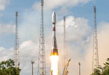 An Arianespace Soyuz ST-A launched CSO-2, a French reconnaissance satellite.