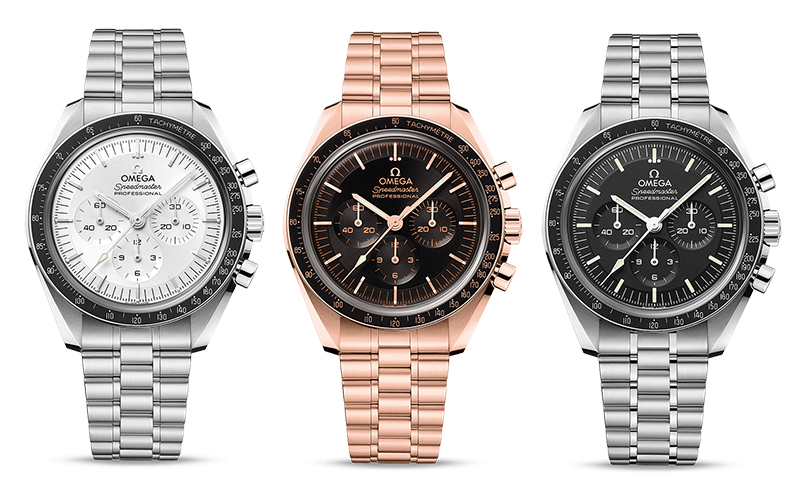 The 2021 Omega Speedmaster Moonwatch comes in four variants including a Canopus Gold™ and a Sedna™ gold variant.
