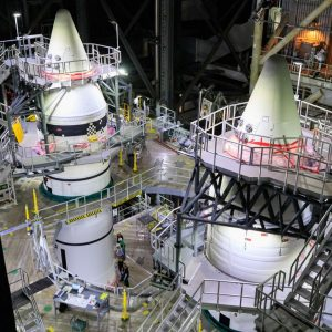 NASA SLS rocket is being prepared for the launch of Artemis 1.