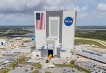 The first SLS core stage was rolled into the Kennedy Space Center's Vehicle Assembly Building on April 29.