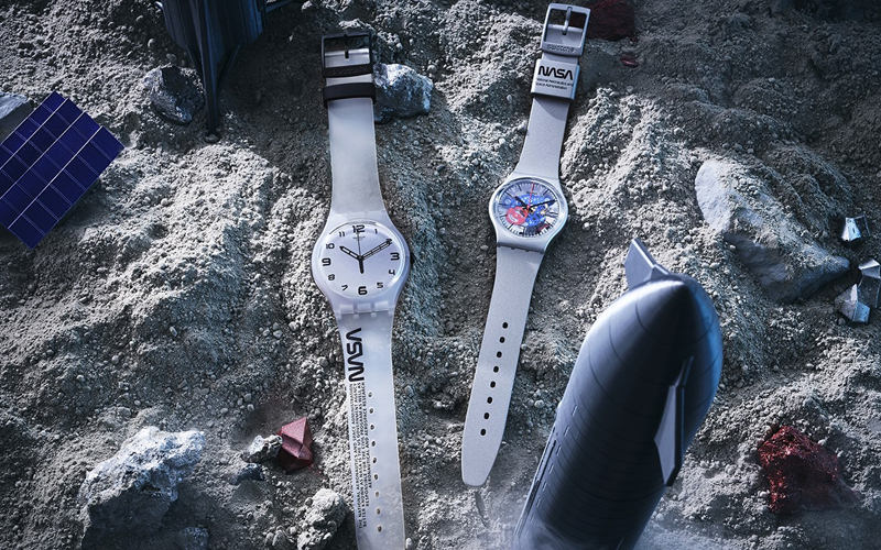 """Swatch are launching a five-watch collection based in part on iconic NASA garments and featuring the agency's iconic """"Worm"""" logo."""