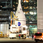 The Artemis 1 Orion spacecraft has been moved to the Kennedy Space Center's Vehicle Assembly Building for mating with its SLS launch vehicle.